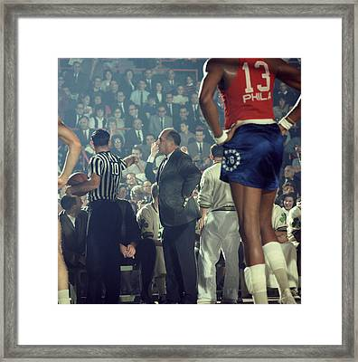 Red Auerbach Talks With Ref Framed Print