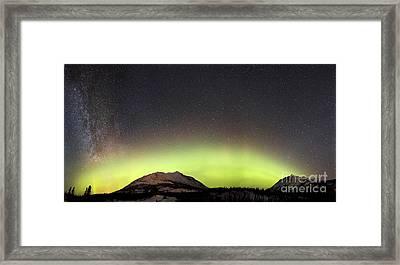Red Aurora Borealis And Milky Way Framed Print by Joseph Bradley