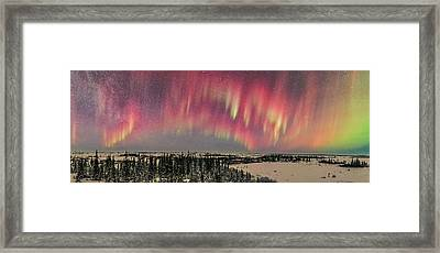 Red Aurora Panorama 1 Feb 12, 2016 Framed Print by Alan Dyer