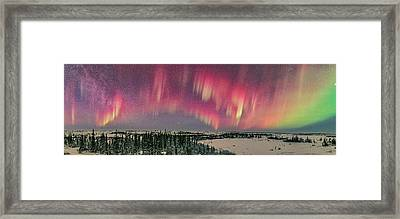 Red Aurora Panorama 2 Feb 12, 2016 Framed Print by Alan Dyer