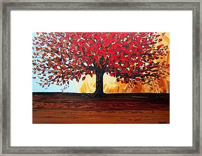 Red Autumn Tree Of Life Framed Print by Christine Krainock