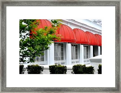 Red Awnings At The Greenbrier Framed Print by Chastity Hoff