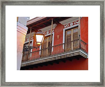 Red Balcony Framed Print