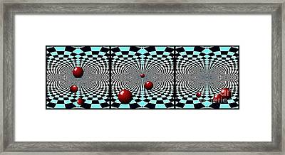 Red Balls Triptych Framed Print by Sarah Loft