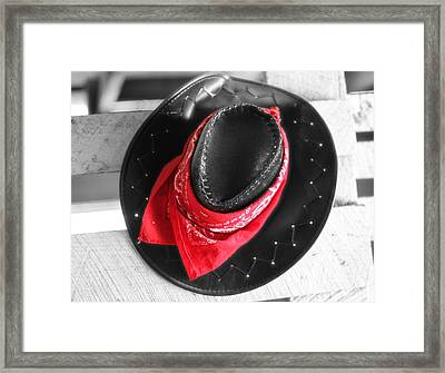 Red Bandana And Cowboy Hat Framed Print by Dan Sproul