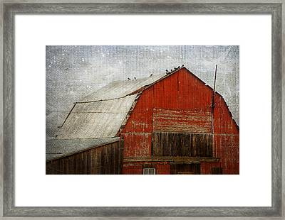 Red Barn And First Snow Framed Print by Theresa Tahara