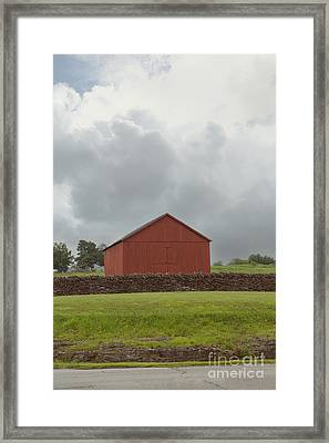 Red Barn And Limestone Fence Framed Print