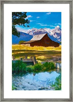 Framed Print featuring the digital art Red Barn And Mountains  by Mary M Collins