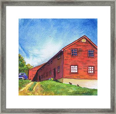 Red Barn Apple Farm New Hampshire Framed Print by Susan Herbst