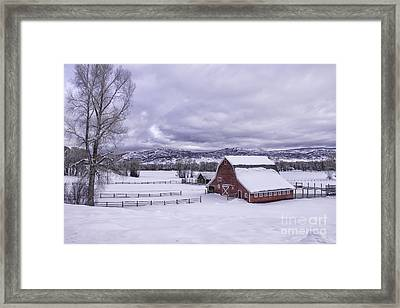 Red Barn At Lamb Ranch Framed Print