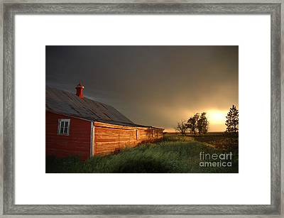 Red Barn At Sundown Framed Print by Jerry McElroy