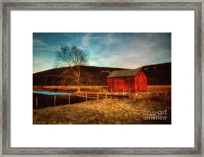 Red Barn At Twilight Framed Print by Lois Bryan