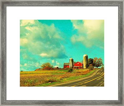 Red Barn Blue Sky Framed Print