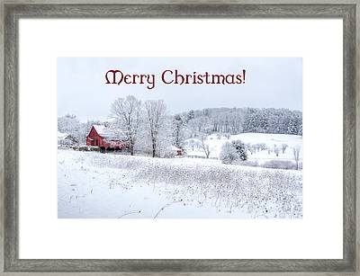 Red Barn Christmas Card Framed Print
