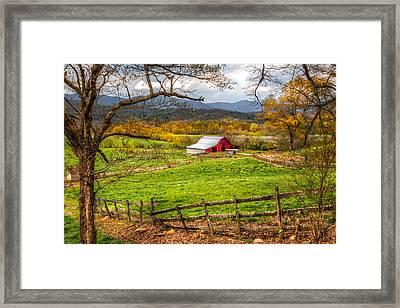 Red Barn Framed Print by Debra and Dave Vanderlaan
