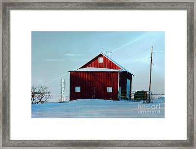Red Barn During Illinois Winter Framed Print by Luther Fine Art