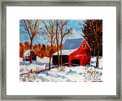 Red Barn First Snow Framed Print