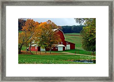 Red Barn In Autumn Framed Print
