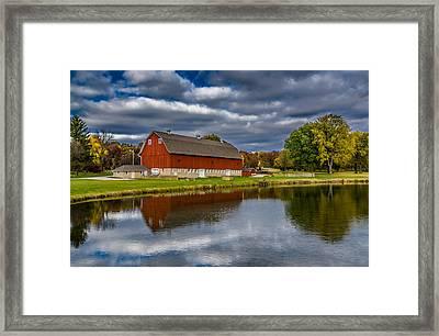 Red Barn In Autumn Framed Print