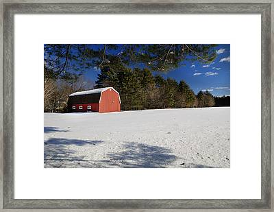 Red Barn In Hollis Framed Print by Lee Fortier