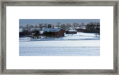 Red Barn In Snow Cover Framed Print