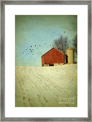 Red Barn In Snow Framed Print