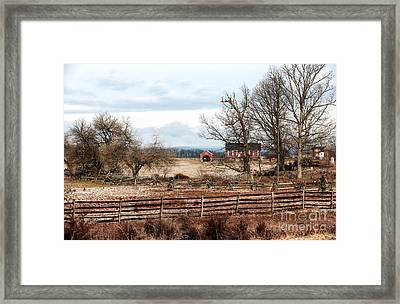 Red Barn In The Field Framed Print