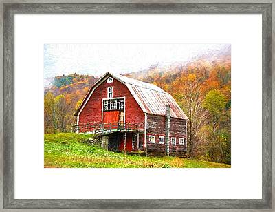 Red Barn In The Mountains Framed Print by Garland Johnson