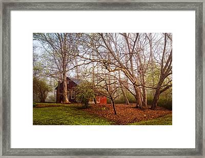Red Barn In The Smokies Framed Print by Debra and Dave Vanderlaan
