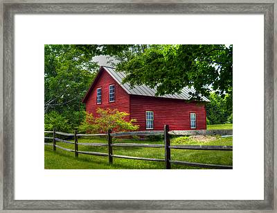 Red Barn In Tyringham - Berkshire County Framed Print