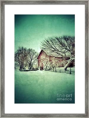 Red Barn In Winter Framed Print by Jill Battaglia