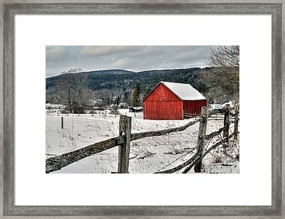 Red Barn In Winter - Tyringham Cobble Framed Print