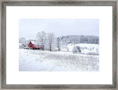 Red Barn In Winter Wonderland Framed Print by Donna Doherty