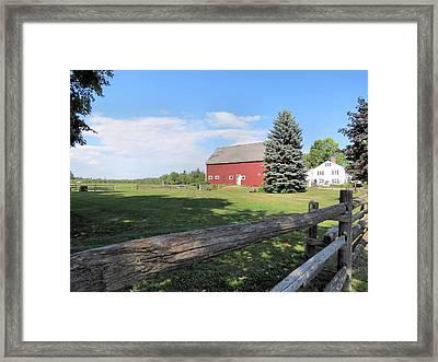 Red Barn Framed Print by Janice Drew