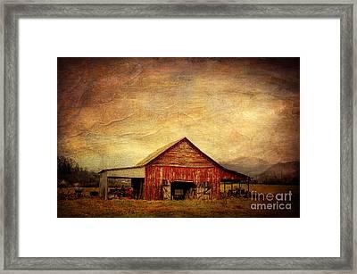 Red Barn  Framed Print by Joan McCool