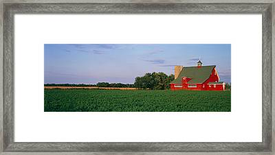 Red Barn Kankakee Il Usa Framed Print by Panoramic Images