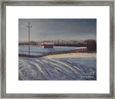 Red Barn Framed Print by Laura Toth