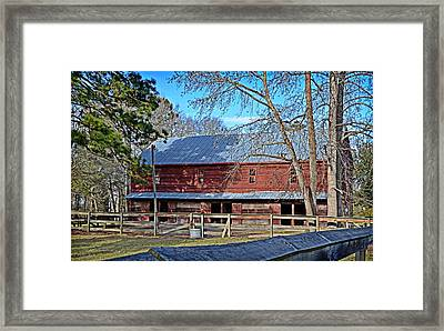 Red Barn Framed Print by Linda Brown