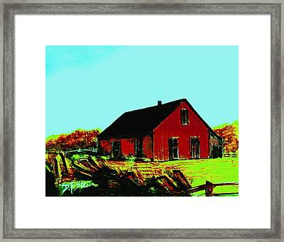 Red Barn   Number 5 Framed Print by Diane Strain