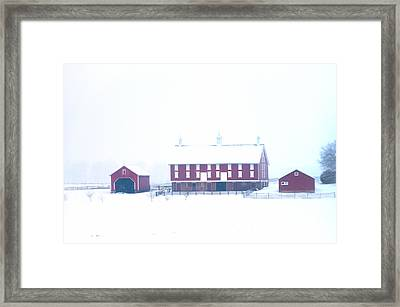Red Barn On A Snowy Day - Gettysburg Framed Print by Bill Cannon