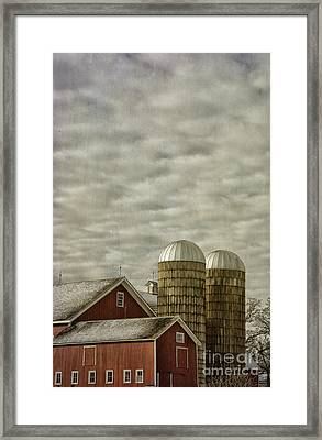 Red Barn On Cloudy Day Framed Print by Birgit Tyrrell