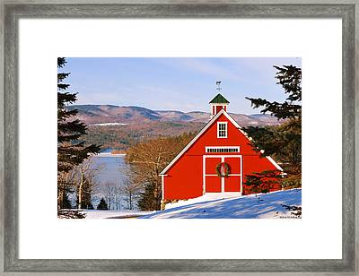 Red Barn On Newfound Lake Framed Print
