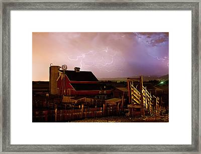 Red Barn On The Farm And Lightning Thunderstorm Framed Print