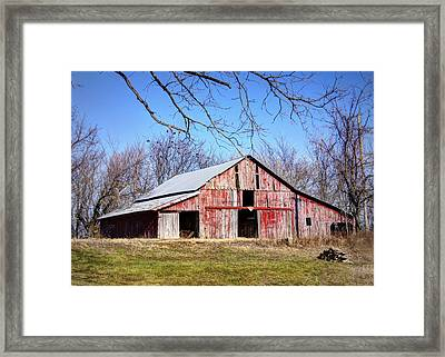 Red Barn On The Hill Framed Print by Cricket Hackmann