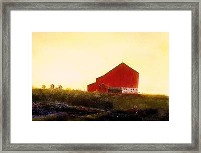 Framed Print featuring the painting Red Barn On The Rocks by William Renzulli