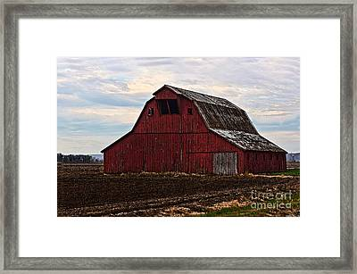 Red Barn Photoart Framed Print by Debbie Portwood