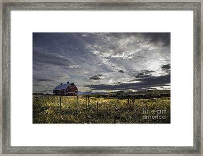 Red Barn Southbound Train Framed Print