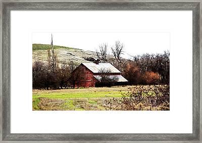 Red Barn Framed Print by Steve McKinzie