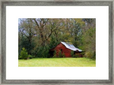 Red Barn Framed Print by Steven Richardson
