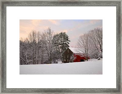 Framed Print featuring the photograph Red Barn Sunrise by Larry Landolfi